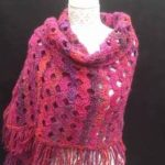 Hand Crochet Shawl Scarf Made Using Arcade Stitch